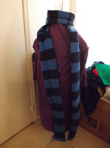 A photo of Ravio's robe and scarf on a dress form.