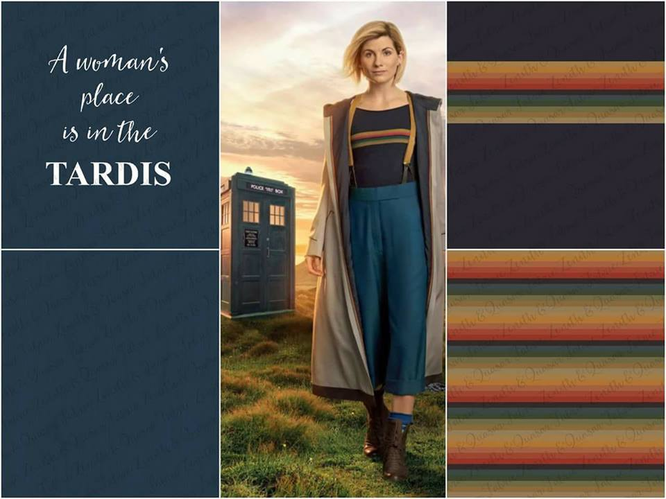 Image from the Z&Q Fabrics FB page - a collage of images of the 13th Doctor and four fabric designs based on her costume.