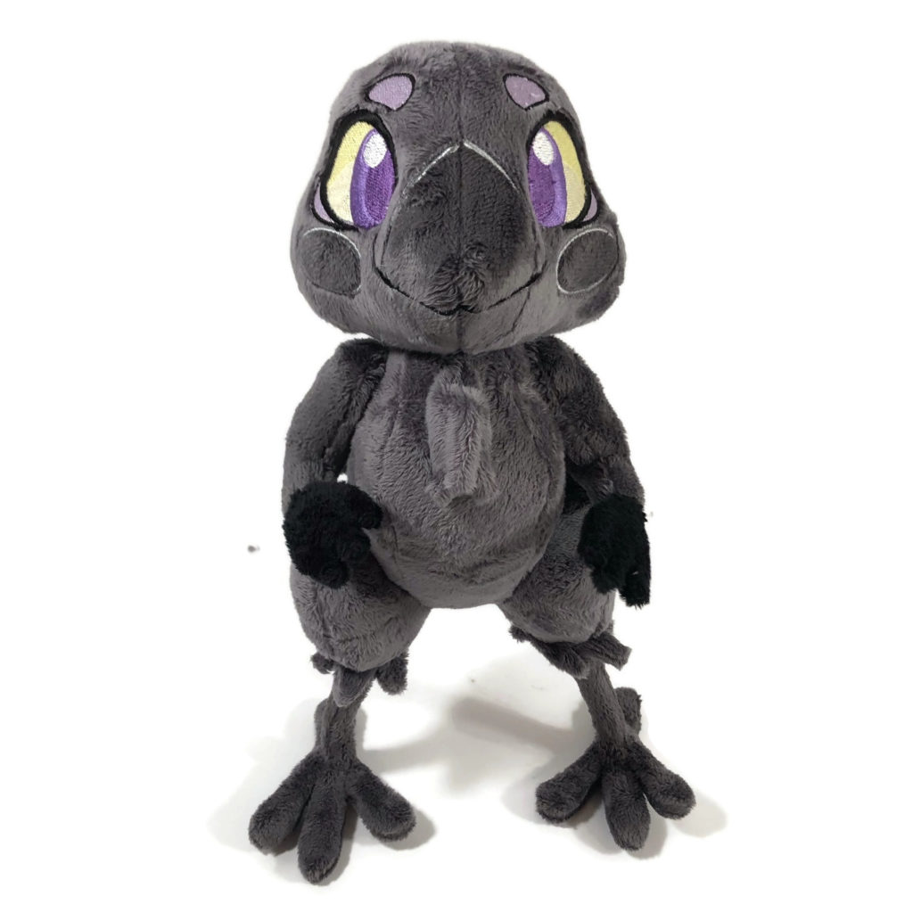 plush gray anthropomorphic crow with embroidered eyes